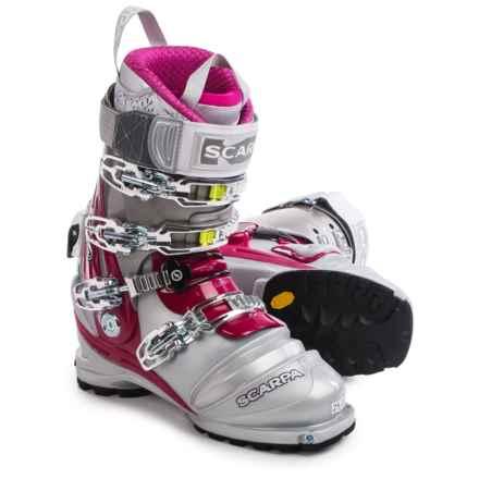 Scarpa Terminator X Pro Telemark Ski Boots (For Women) in Silver/Shark/Magenta - Closeouts