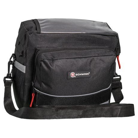 Schwinn Handlebar Bag - Map Holder, Carry Strap in Black