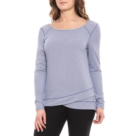 Scoop Neck Shirt - Long Sleeve (For Women) - SKIPPER BLUE/SHITE STRIPES (M )