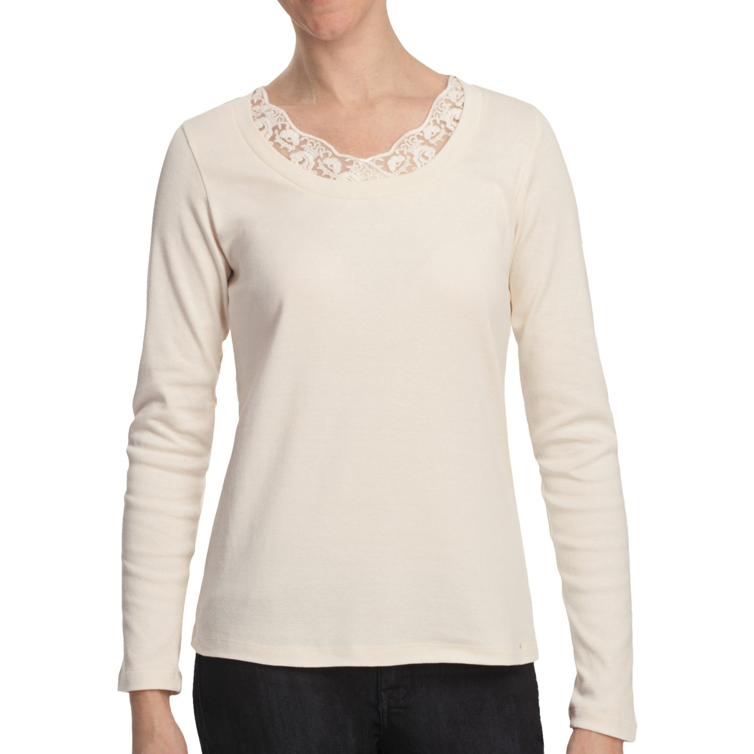 Scoop neck shirt with lace cotton long sleeve for for Scoop neck long sleeve shirt