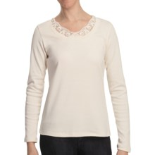 Scoop Neck Shirt with Lace - Cotton, Long Sleeve (For Women) in Ivory - 2nds