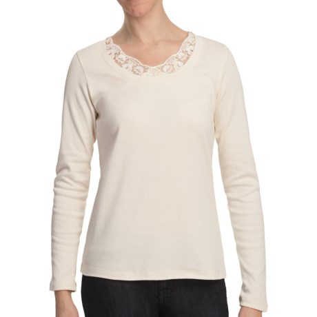 Scoop Neck Shirt with Lace - Cotton, Long Sleeve (For Women) in Ivory
