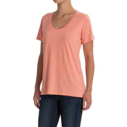 Scoop Neck T-Shirt - Short Sleeve (For Women) in Orange - 2nds