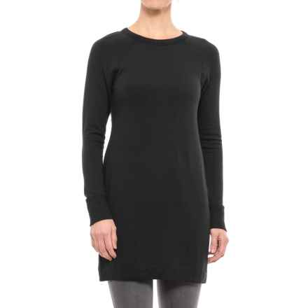 Scoop Neck Tunic Shirt - Stretch Rayon, Long Sleeve (For Women) in Black - 2nds