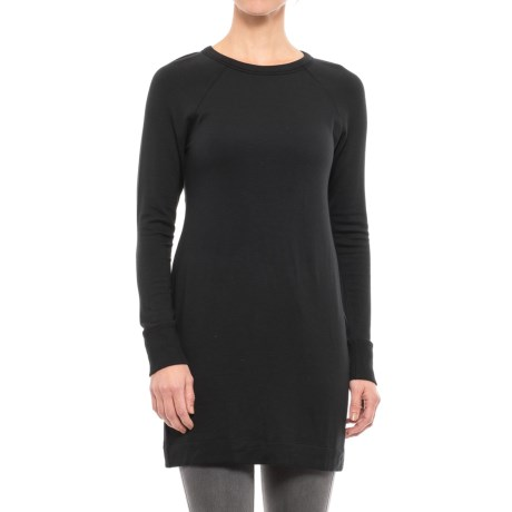 Scoop Neck Tunic Shirt - Stretch Rayon, Long Sleeve (For Women) in Black