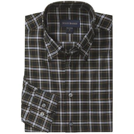 Scott Barber Andrew 4x4 Check Sport Shirt - Twill, Long Sleeve (For Men) in Black/White/Tan