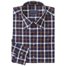 Scott Barber Andrew Cotton Check Shirt - Long Sleeve (For Men) in Navy/Brown/White - Closeouts