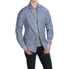 Scott Barber Andrew Cotton Dobby Check Shirt - Long Sleeve (For Men) in Blue/Black Check - Closeouts