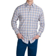 Scott Barber Andrew Cotton Dobby Check Shirt - Long Sleeve (For Men) in Sky Blue/Navy/Yellow/Red Check - Closeouts