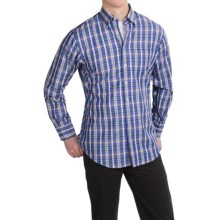 Scott Barber Andrew Cotton Dobby Plaid Shirt - Long Sleeve (For Men) in Blue/Orange/Yellow Plaid - Closeouts