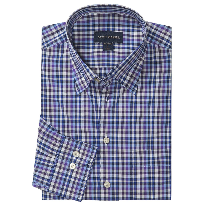 Scott barber andrew fancy multi check sport shirt hidden for Hidden button down collar shirts