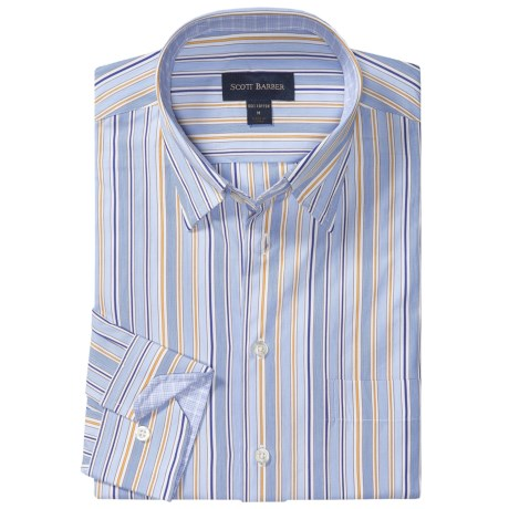 Scott Barber Andrew Fancy Multi-Stripe Sport Shirt - Long Sleeve (For Men) in Blue/White/Yellow