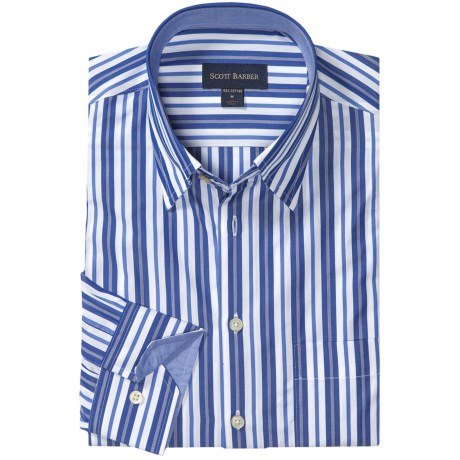 Scott Barber Andrew Fancy Multi-Stripe Sport Shirt - Long Sleeve (For Men) in White/Blue/Navy