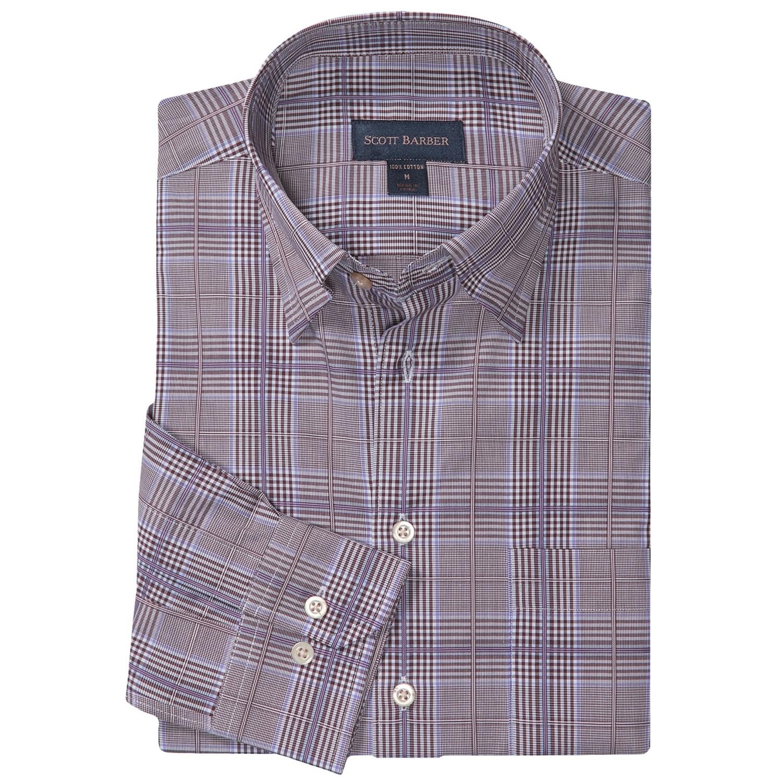 Scott barber andrew glen plaid sport shirt hidden button for Hidden button down collar shirts