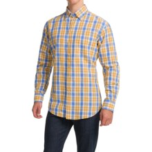 Scott Barber Andrew Linen Shirt - Hidden Button-Down Collar, Long Sleeve (For Men) in Blue/Gold Plaid - Closeouts