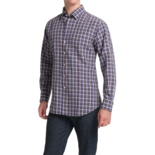 Scott Barber Andrew Linen Shirt - Hidden Button-Down Collar, Long Sleeve (For Men) in Blue Large Plaid - Closeouts