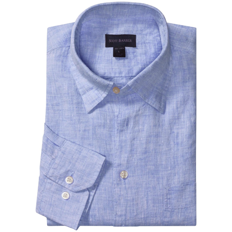 Scott barber andrew linen shirt hidden button down for Hidden button down collar shirts