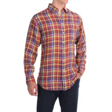 Scott Barber Andrew Linen Shirt - Hidden Button-Down Collar, Long Sleeve (For Men) in Multi Check - Closeouts