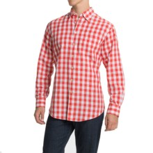 Scott Barber Andrew Linen Shirt - Hidden Button-Down Collar, Long Sleeve (For Men) in Red/White Large Check - Closeouts