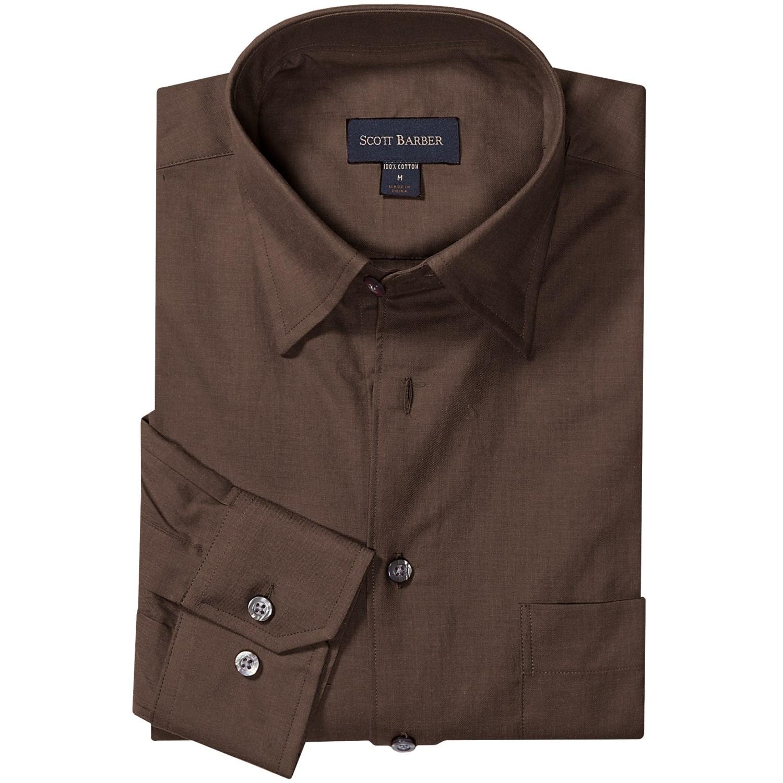 Scott barber andrew melange twill shirt hidden button for Hidden button down collar shirts