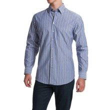 Scott Barber Andrew Shirt - Button Front, Long Sleeve (For Men) in Navy/Khaki/White Stripe - Closeouts