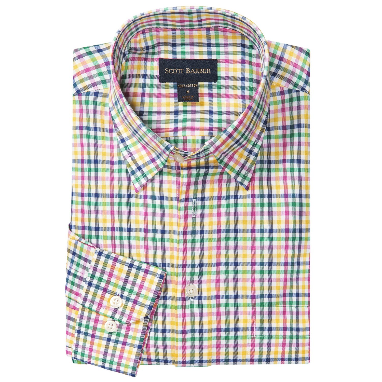 Scott barber andrew sport shirt french front hidden for Hidden button down collar shirts