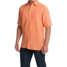 Scott Barber Charles Camp Shirt - Spread Collar, Short Sleeve (For Men) in Peach Solid - Closeouts