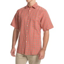 Scott Barber Charles Camp Shirt - Spread Collar, Short Sleeve (For Men) in Red Large Plaid - Closeouts