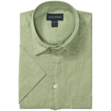 Scott Barber Charles Camp Shirt - Spread Collar, Short Sleeve (For Men) in Willow Green Solid - Closeouts