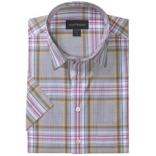 Scott Barber Charles Plaid Shirt - Spread Collar, Short Sleeve (For Men) in Grey/White/Plum - Closeouts