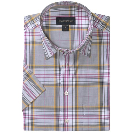Scott Barber Charles Plaid Shirt - Spread Collar, Short Sleeve (For Men) in Grey/White/Plum