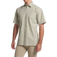 Scott Barber Charles Plain Weave Melange Shirt - Button Front, Short Sleeve (For Men) in Lime/Lavender Plaid - Closeouts