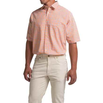 Scott Barber Charles Plain Weave Melange Shirt - Button Front, Short Sleeve (For Men) in Orange/Blue Plaid - Closeouts