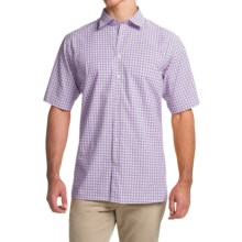 Scott Barber Charles Plain Weave Melange Shirt - Button Front, Short Sleeve (For Men) in Purple Gingham - Closeouts
