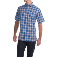 Scott Barber Charles Poplin Check Shirt - Button Front, Short Sleeve (For Men) in Blue/Brown/White Plaid - Closeouts