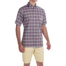 Scott Barber Charles Poplin Check Shirt - Button Front, Short Sleeve (For Men) in Gold/Blue/Purple Check - Closeouts