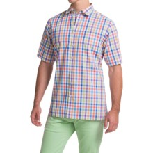Scott Barber Charles Poplin Check Shirt - Button Front, Short Sleeve (For Men) in White/Blue/Green Multi Check - Closeouts