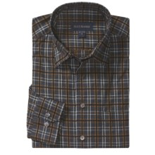 Scott Barber Christopher Fancy Check Sport Shirt - Long Sleeve (For Men) in Tan/ Black/Blue - Closeouts