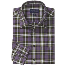Scott Barber Christopher Plaid Sport Shirt - Spread Collar, Long Sleeve (For Men) in Purple/Brown/Lime - Closeouts