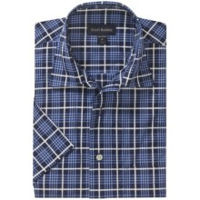 Scott Barber Cotton Camp Shirt - Short Sleeve (For Men) in White/Navy/Blue Plaid - Closeouts