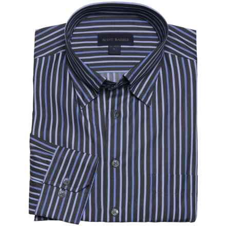 Scott Barber Cotton Stripe Sport Shirt - Long Sleeve (For Men) in Navy/Blue Multi - Closeouts