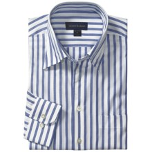 Scott Barber Dermer Sport Shirt - Dobby Stripe, Long Sleeve (For Men) in White/Blue - Closeouts