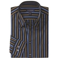 Scott Barber Fancy Stripe Sport Shirt - Cotton Twill, Long Sleeve (For Men) in Black/Blue /Tobacco - Closeouts
