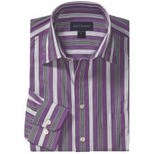 Scott Barber Hadley Fancy Stripe Sport Shirt - Spread Collar, Long Sleeve (For Men) in Purple/Black/White - Closeouts