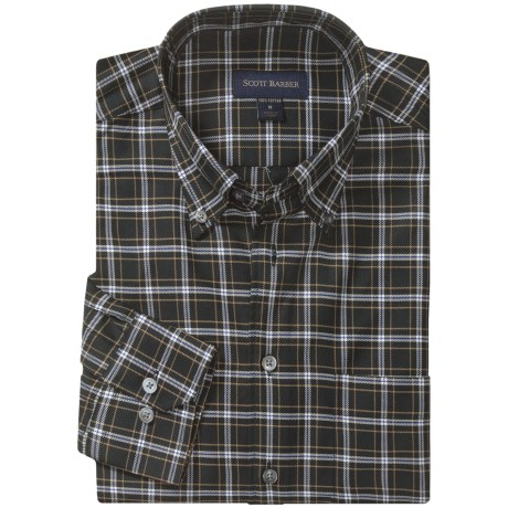 Scott Barber James 4x4 Check Sport Shirt - Twill, Long Sleeve (For Men) in Black/White/Tan