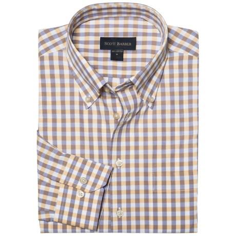 Scott Barber James Basic Check Sport Shirt - Button-Down Collar, Cotton, Long Sleeve (For Men) in Orange/Purple/White