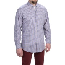 Scott Barber James Compact Poplin Check Shirt - Long Sleeve (For Men) in Blue/Brown - Closeouts
