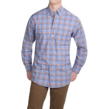 Scott Barber James Compact Poplin Shirt - Long Sleeve (For Men) in French Blue/Blue/Orange/Red Plaid - Closeouts