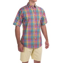 Scott Barber James Compact Poplin Shirt - Short Sleeve (For Men) in Blue/Green/Red Mulit Check - Closeouts
