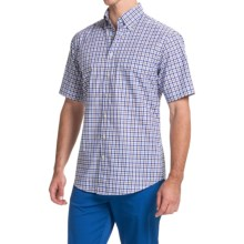 Scott Barber James Compact Poplin Shirt - Short Sleeve (For Men) in Light Blue/Brown W/Navy Window Plaid - Closeouts